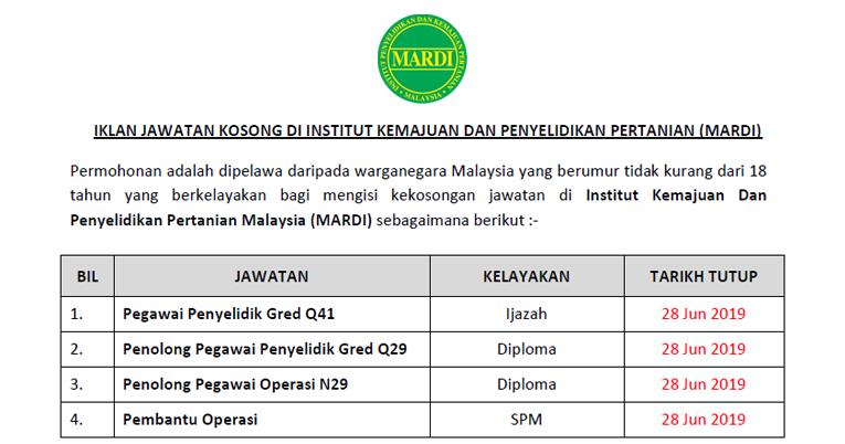 Jawatan Kosong Di Institut Kemajuan Dan Penyelidikan Pertanian Malaysia Mardi Ejawatankini Com