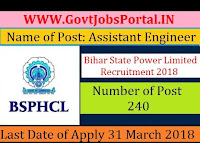 Bihar State Power Limited Recruitment 2018– 240 Assistant Electrical Engineer & Assistant Engineer