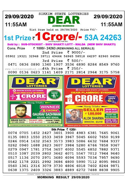 Lottery Sambad Result 29.09.2020 Dear Admire Morning 11:55 am