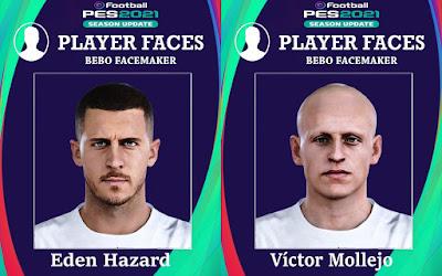 PES 2021 Faces Eden Hazard & Victor Mollejo by Bebo