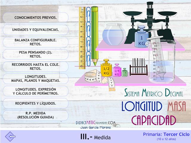 SMD. Longitud, Masa y Capacidad. 3º ciclo de Primaria.