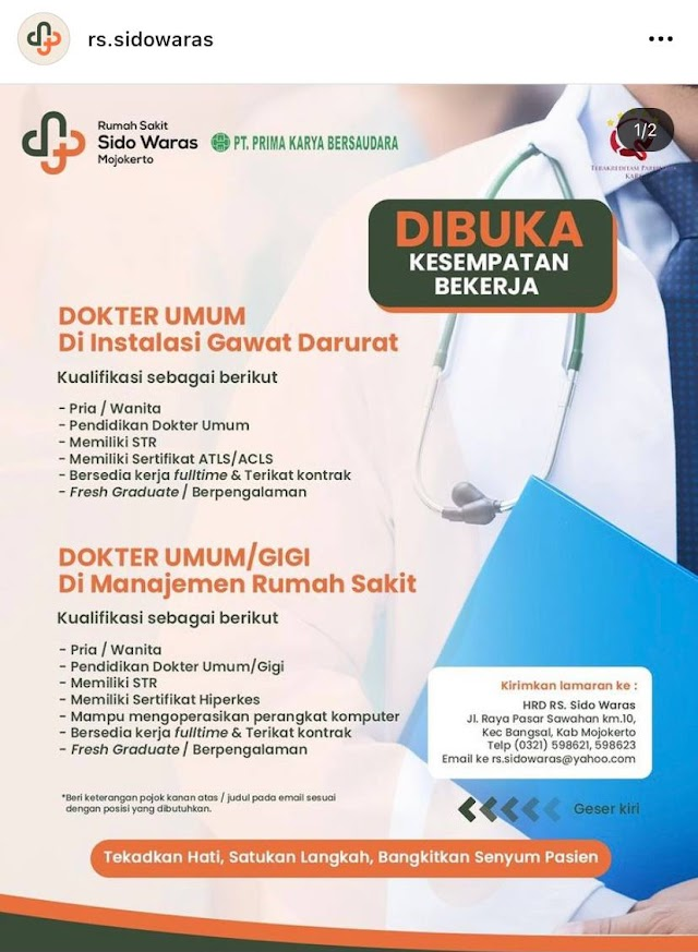 Loker Dokter RS Sidowaras Mojokerto
