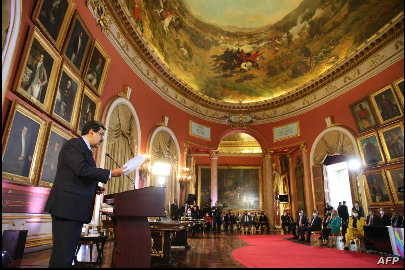 El presidente en disputa de Venezuela, Nicolás Maduro, habla ante la Asamblea Constitutente el 29 de septiembre de 2020 / AFP