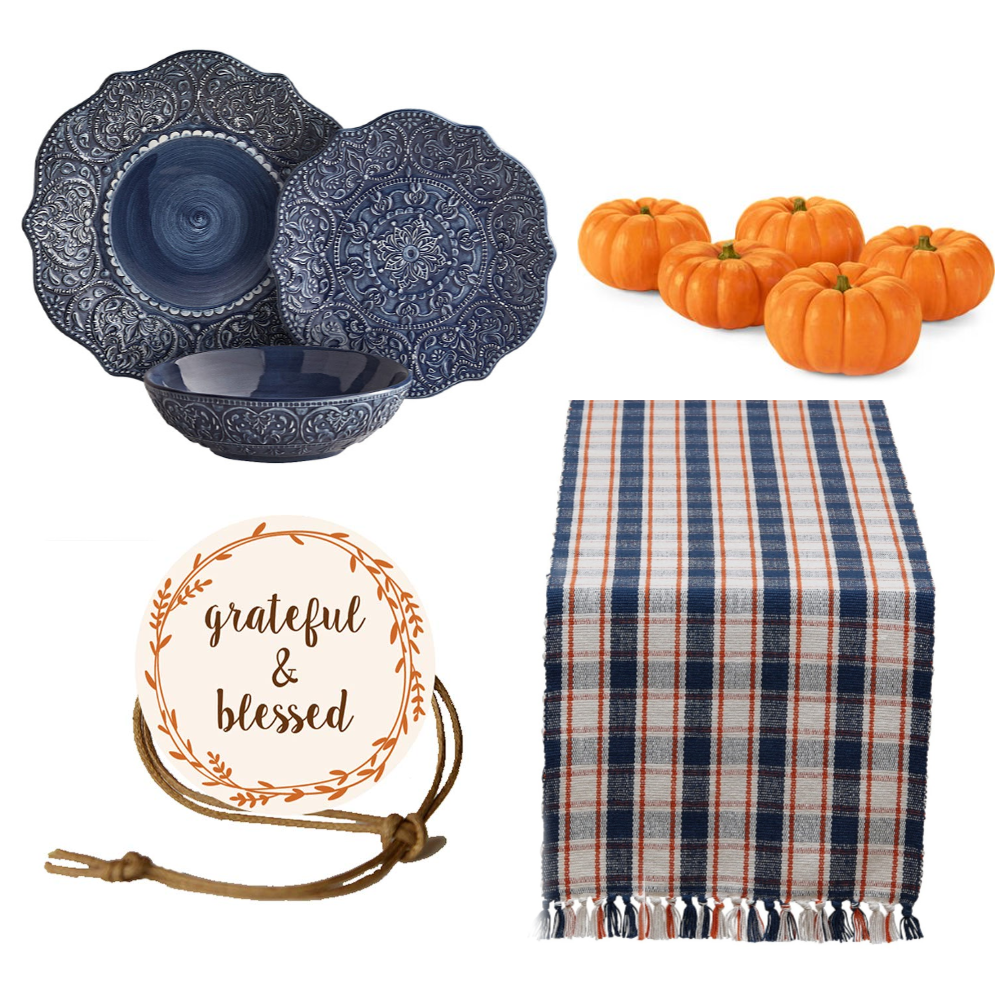 navy blue and orange thanksgiving table ideas