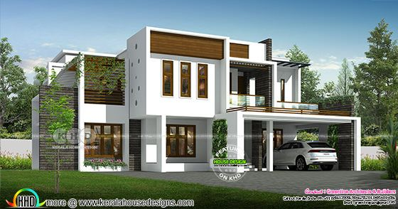 Modern contemporary style flat roof house design