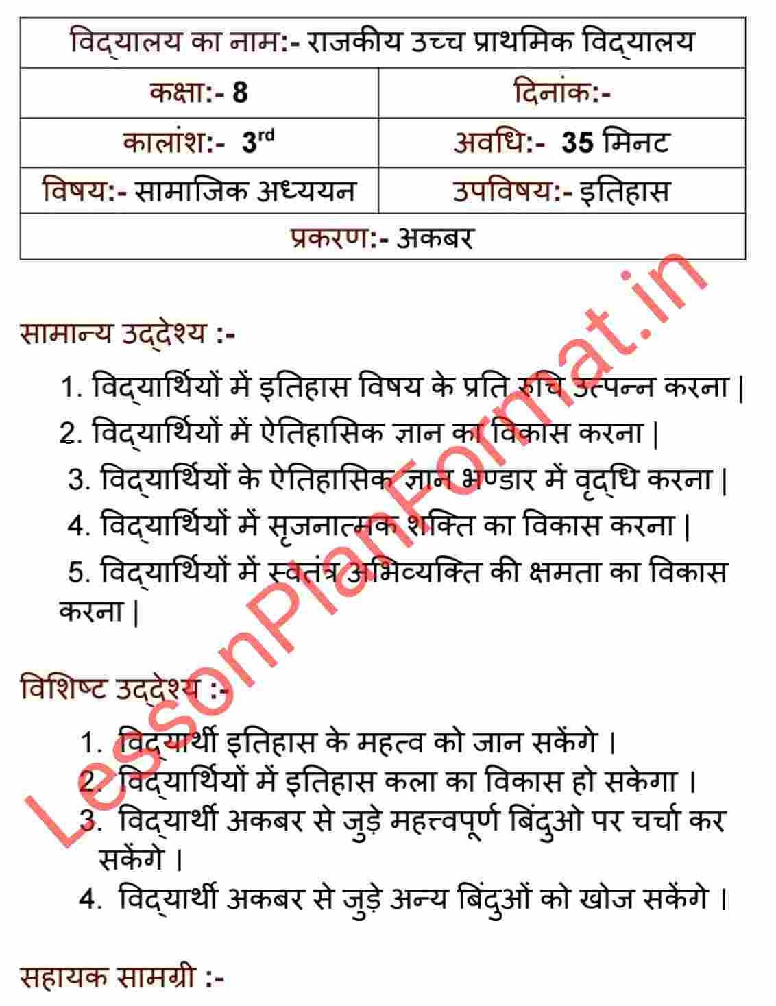 B.ed Lesson Plan of History in Hindi
