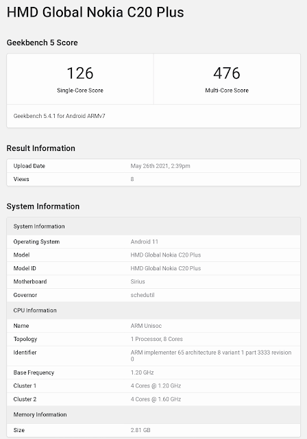 Nokia C20 Plus spotted on Geekbench