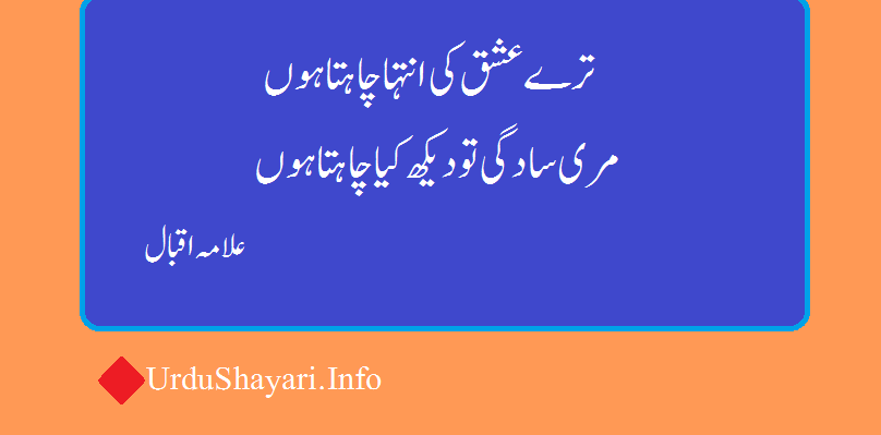 Allama Iqbal shayari - 2 lines poetry in urdu tere ishq ki inteha chahta hon