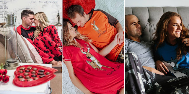 The Cutest Valentine's Day Gift for Cohabitant Partners. If you're looking for the cutest gift to give your partner for this Valentine's Day you'll find it here. #matchingpjs #matchingpajamas #couplesmatchingpjs #couplepjs #couplepajamas #cohabitantpartners #valentinesday #valentinesdaygiftideas #pjsets #cutepajamas #lazyone #valentinesday2020
