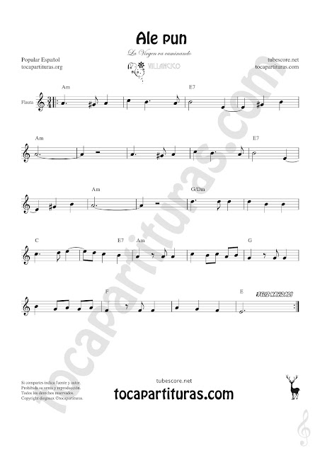 Flauta Travesera, flauta dulce y flauta de pico Partitura de Ale Pun Sheet Music for Flute and Recorder Music Scores