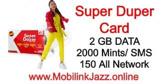 Jazz Super Duper Card | Enjoy Free Internet,Call & SMS