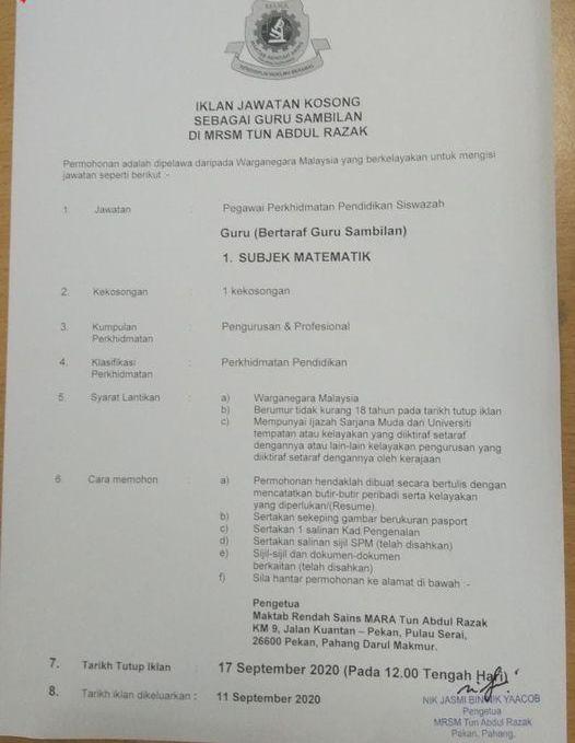 Kekosongan Terkini di Maktab Rendah Sains Mara (MRSM)