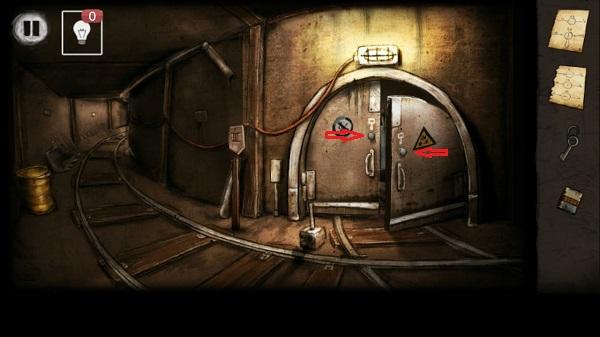 вставляем ручки и открываем ворота депо в игре выход из заброшенной шахты