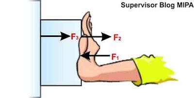 cara mudah menentukan pasangan gaya aksi reaksi pada balok yang ditekan berdasarkan hukum 3 newton tentang gerak