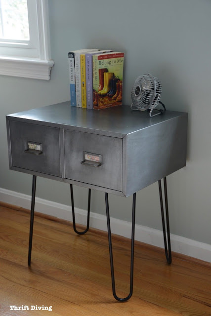 Thrifted vintage metal cabinet with hairpin legs makeover