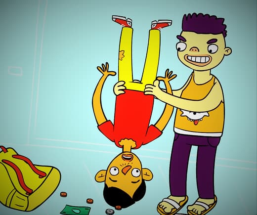 Illustrated bully holding another boy while he is upside down dropping his belongings on the floor.