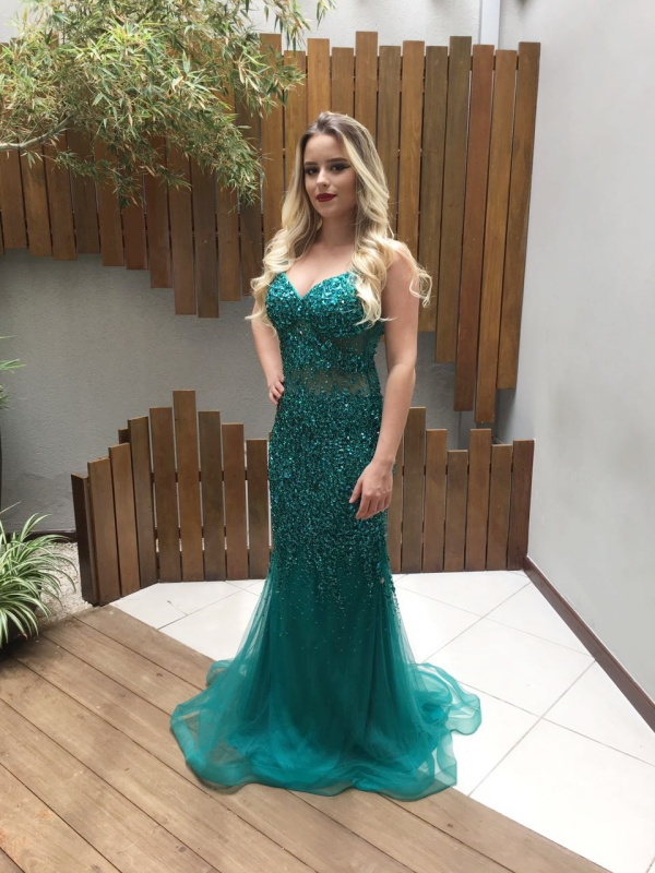 vestido formatura verde