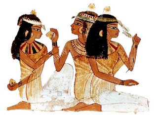 Painting from the tomb of Nakht depicting three women