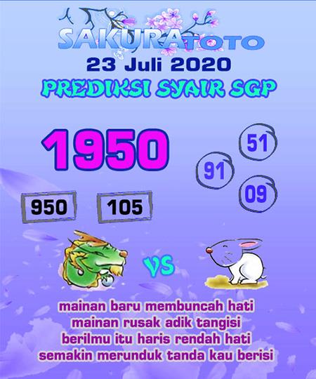 Syair Sakuratoto SGP Kamis 23 Juli 2020