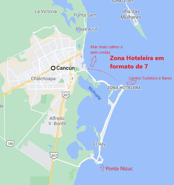Mapa de Cancun e Zona Hoteleira