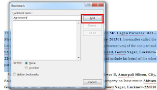 What is Bookmark in Ms Word and its use in Hindi