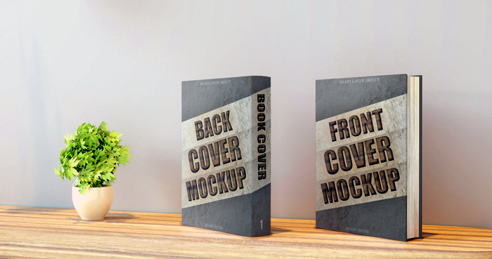 Book Mockup Front Back Cover Wall Desk Mockup