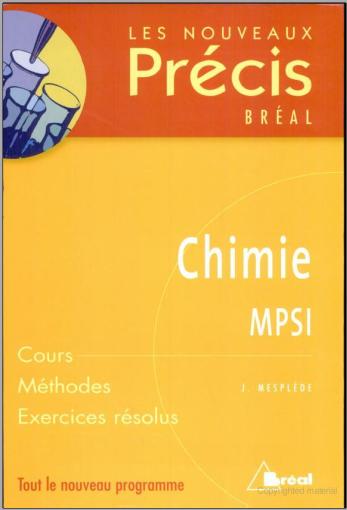 Livre : NOUVEAU PRÉCIS DE CHIMIE, MPSI PDF