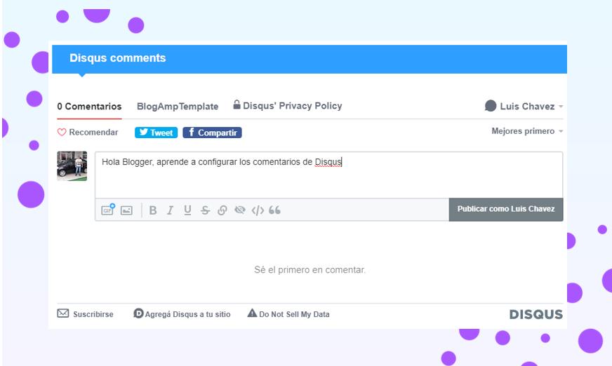 Cómo configurar los comentarios de Disqus de mi blog en AMP de Blogger