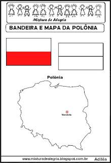 Bandeira e mapa da Polônia