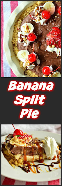 This no bake banana split pie has a cookie crumb crust, a layer of vanilla cream and a chocolate layer laden with maraschino cherries and bananas. There's no ice cream in this, but it is frozen and tastes divine! #icecream #dessert #pie #bananasplit www.thisishowicook.com