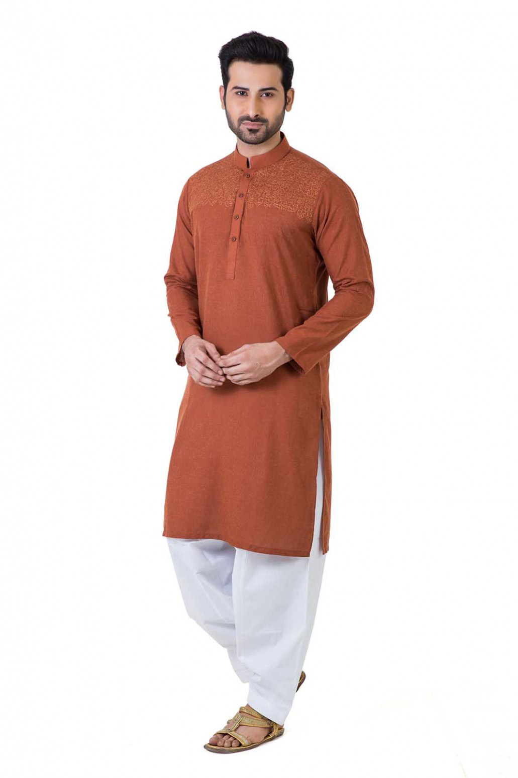 Brown kurta with white shalwar