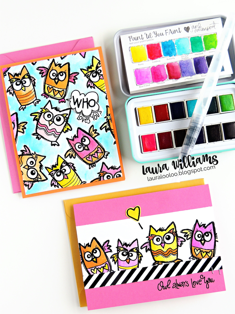Handmade card making ideas with stamping and watercolor. Who Loves You clear stamp set from Impression Obsession, designed by Nola Chandler. Watercolor is from Jane Davenport at Spellbinders #cardmaking #owls