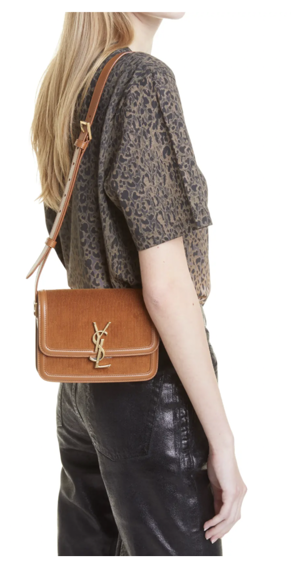 YSL Small Solferino Corduroy & Leather Shoulder Bag
