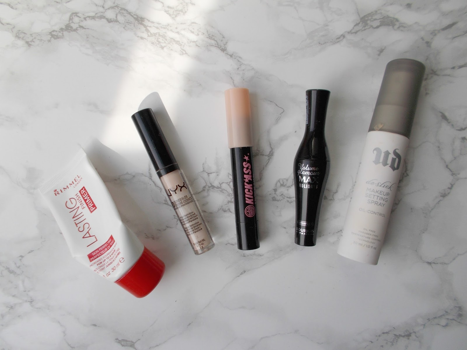 product empties makeup rimmel nyx soap and glory bourjois urban decay