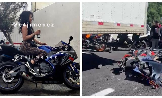 """""""La Negrita"""" una de las Novias de La Unión Tepito, murió ayer en terrible accidente de bikers sobre la carretera Cuernavaca- México, familiares ya comenzaron a pedir lana"""