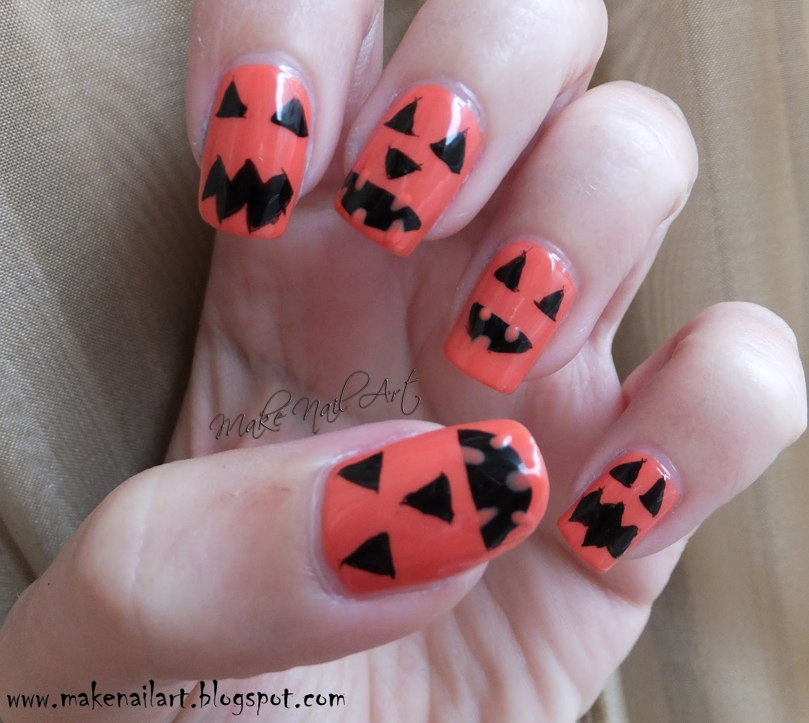 Make Nail Art: Jack O Lantern Halloween Nail Art Tutorial