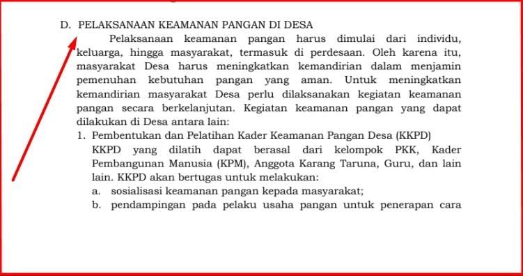 Pelaksanaan Keamanan Pangan Di Desa Dalam Permendes  Pelaksanaan Keamanan Pangan Di Desa Dalam Permendes 7/2020