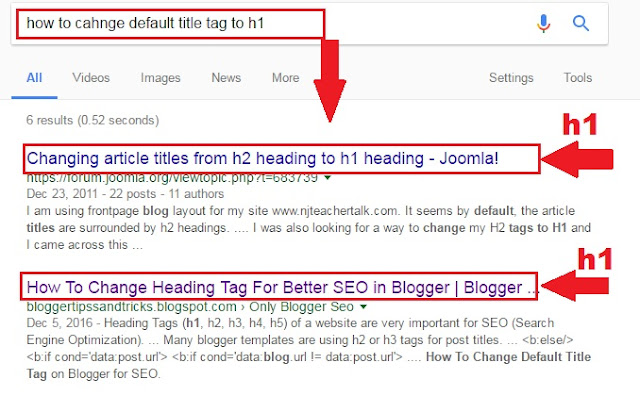 H1 Tags SEO In Blogger Posts Titles