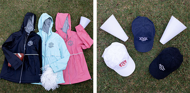 personalized rain jacket and baseball hat