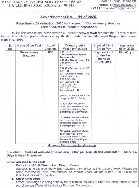KMC Conservancy Mazdoor Vacancy 2020