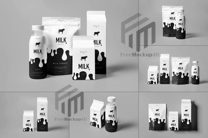 Milk Package  Bottle Small and Big Size Mega Bundle Mockup Pack
