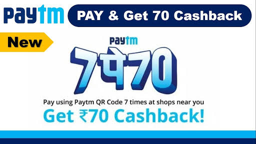 Paytm – Get Rs 70 Cashback on Making 7 Payments using Paytm wallet