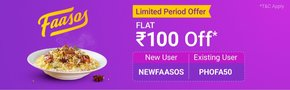 PhonePe Switch Offer - Get Rs.100 Cashback On Food Order From Faasos