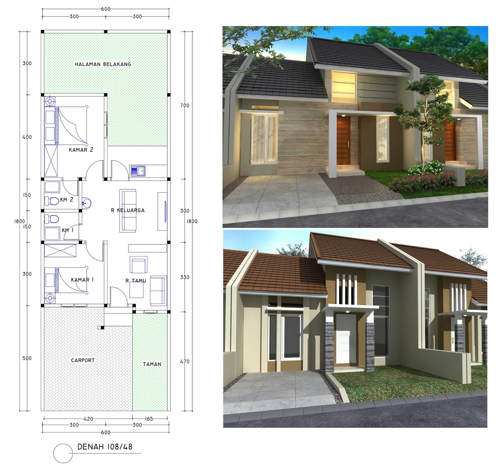 Bentuk  Denah Rumah Sederhana Lebar 6 Meter  Terkini Gratis