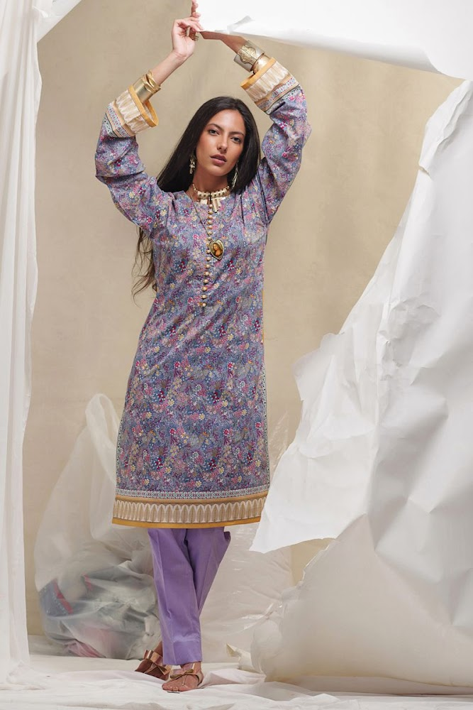 Gul Ahmed Lawn Purple Shirt Unstitched
