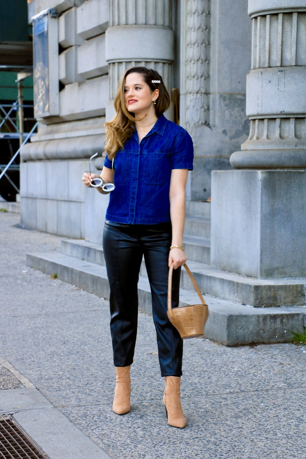 Nyc fashion blogger Kathleen Harper wearing a spring outfit idea for work or weekend.