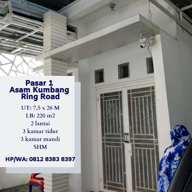 Jual Murah Rumah 2 Lantai, Lokasi Sangat Strategis, Di Pasar 1 Asam Kumbang Ring Road Medan Sumatera Utara