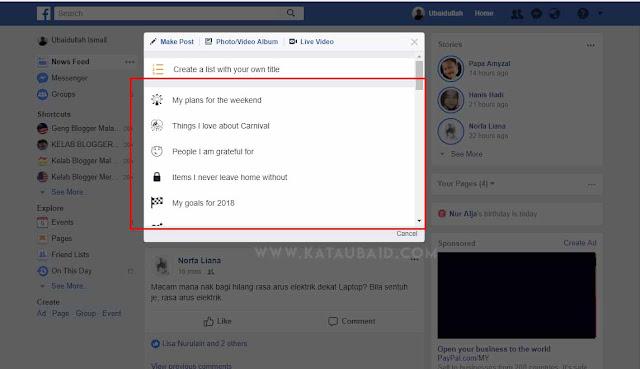 cara buat facebook list