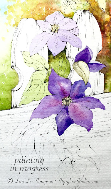 Unfinished watercolor painting by Lori Lee