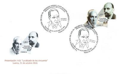 Sobre con el sello de Severo Ochoa y Juan Ramón Jiménez y matasellos de Luarca